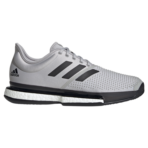 adidas SoleCourt Boost Primeblue Men's Tennis Shoe (Grey/Black) - RacquetGuys