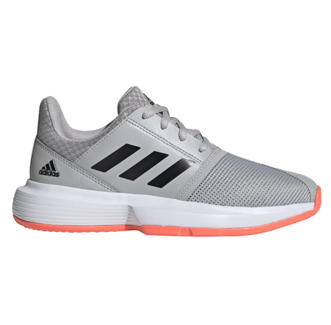 adidas CourtJam X Junior Tennis Shoe (Grey/Black/Pink) - RacquetGuys