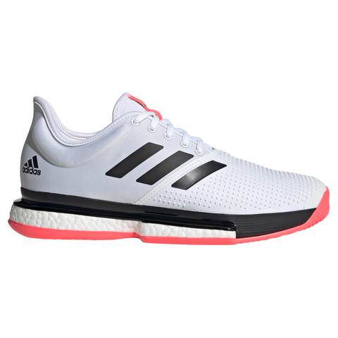 adidas SoleCourt Boost Men's Tennis Shoe (White/Black/Pink) - RacquetGuys