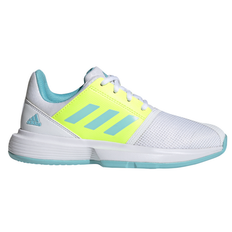 adidas CourtJam X Junior Tennis Shoe (White/Blue/Yellow) - RacquetGuys.ca