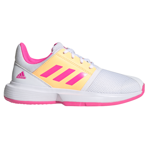 adidas CourtJam X Junior Tennis Shoe (White/Pink/Orange) - RacquetGuys.ca