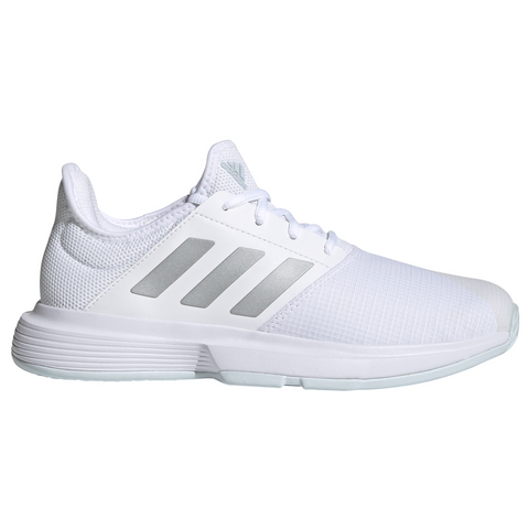 adidas GameCourt Women's Tennis Shoe (White/Silver/Blue) - RacquetGuys.ca
