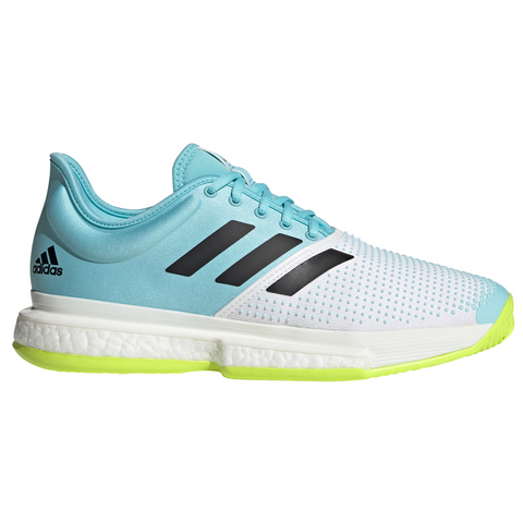 adidas SoleCourt Boost Primeblue Tokyo Men's Tennis Shoe (White/Blue/Yellow) - RacquetGuys
