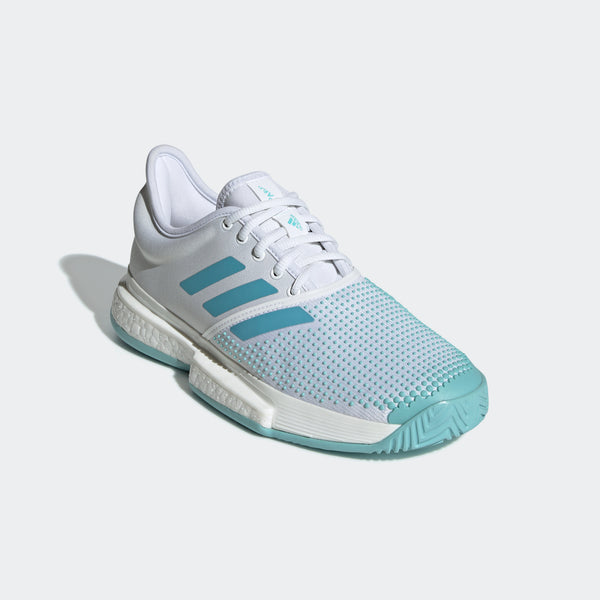 adidas SoleCourt Boost x Parley Women's Tennis Shoe (White/Teal) - RacquetGuys