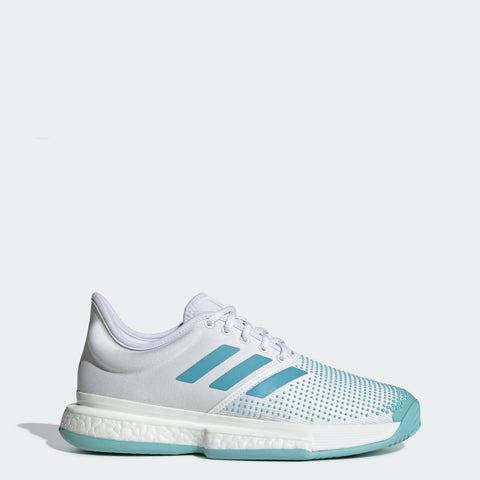 adidas SoleCourt Boost x Parley Women's Tennis Shoe (White/Teal)