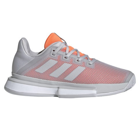 adidas SoleMatch Bounce Women's Tennis Shoe (Grey/Peach) - RacquetGuys