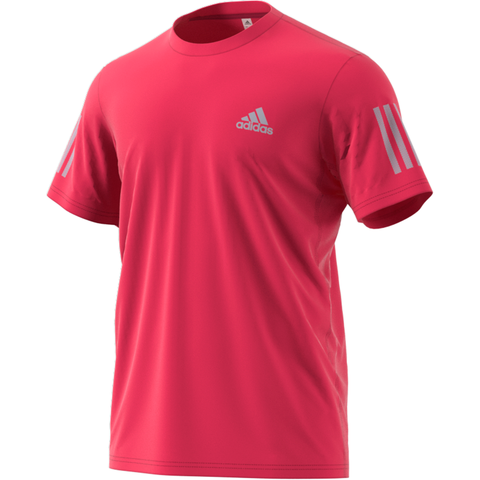 adidas Men's 3 Stripes Club Top (Power Pink) - RacquetGuys.ca