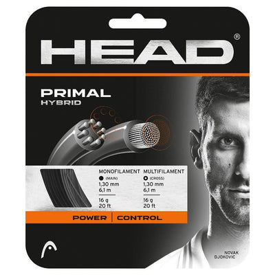 HEAD Primal 16 Hybrid-Tennis String (Silver/Black)