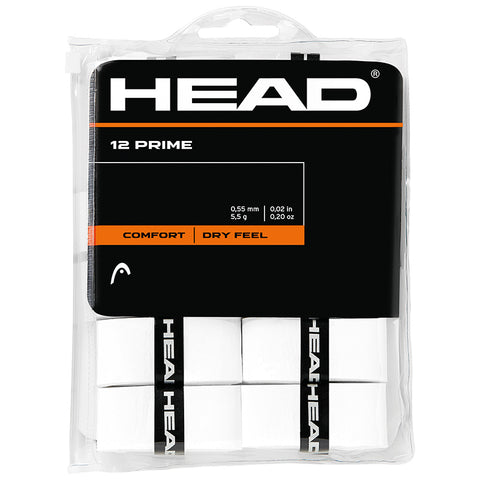 Head Prime Overgrip 12 Pack (White) - RacquetGuys