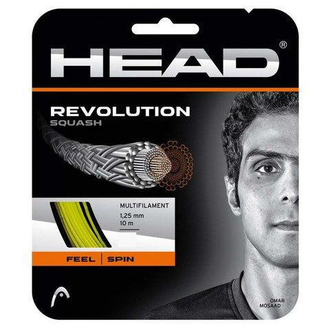 Head Revolution 17 Squash String (Yellow) - RacquetGuys.ca