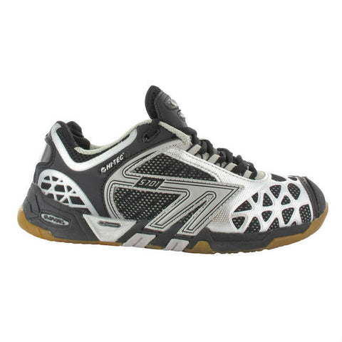 Hi-Tec S701 Mens Indoor Court Shoe (Black/Silver) - RacquetGuys