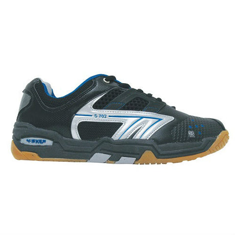 Hi-Tec S702 Mens Indoor Court Shoe (Black/White/Blue) - RacquetGuys