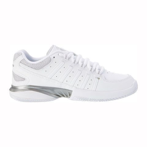 K-Swiss Receiver III Women's Tennis Shoe (White/Silver) - RacquetGuys