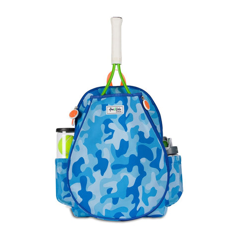 Ame & Lulu Little Love Tennis Junior Backpack Racquet Bag (Blue Camo) - RacquetGuys