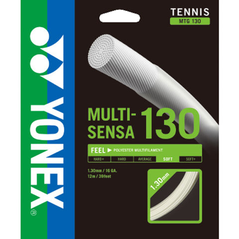 Yonex Multi-Sensa 16 130 Multifilament Poly Tennis String (White) - RacquetGuys