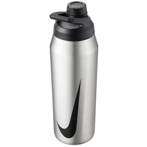 Nike Hypercharge Chug 32 oz. Water Bottle (Brushed Stainless Steel) - RacquetGuys