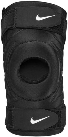 Nike Pro Open Knee Sleeve With Strap (Black/White) - RacquetGuys.ca