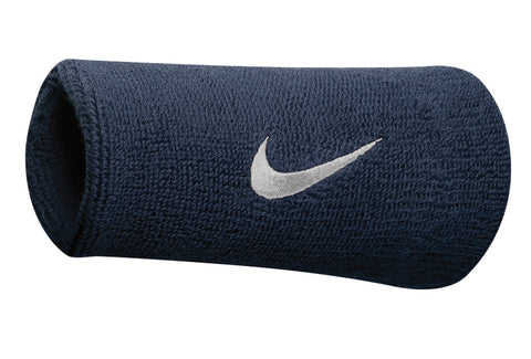 Nike Swoosh Doublewide Wristbands (Obsidian/White) - RacquetGuys