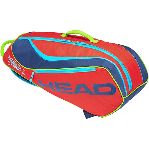 Head Novak Djokovic Combi Junior 6 Pack Racquet Bag (Red/Navy) - RacquetGuys.ca