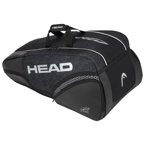 Head Djokovic Supercombi 9 Pack Racquet Bag (Black/Grey) - RacquetGuys