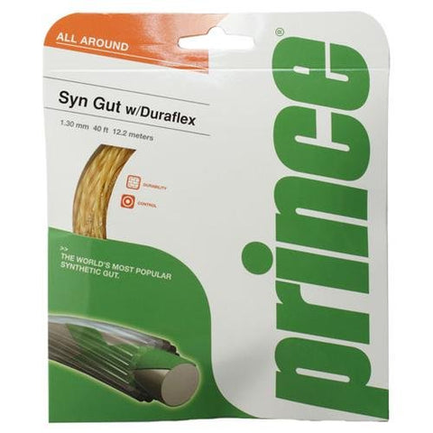 Prince Synthetic Gut 16 Duraflex Tennis String (Gold)