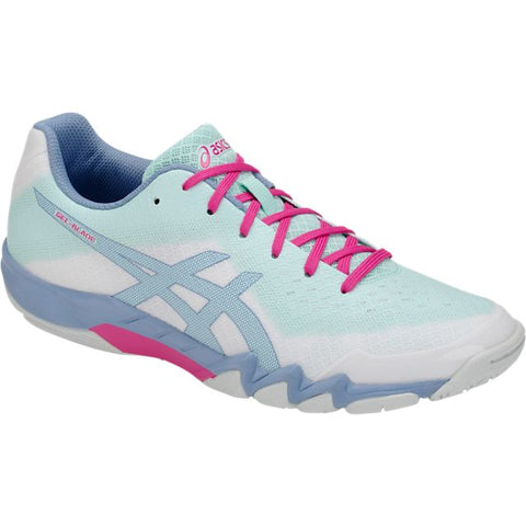Asics Gel Blade 6 Womens Indoor Court Shoe (White/Icy Morning) - RacquetGuys