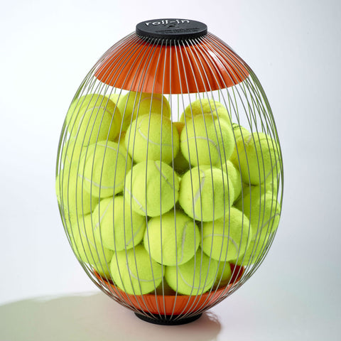 Ball hopper cage with tennis ball