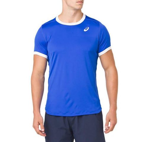 Asics Men's Club Short Sleeve Top (Blue/White) - RacquetGuys.ca