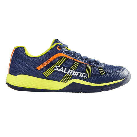 Salming Adder Junior Indoor Court Shoe (Cyano Blue/Yellow) - RacquetGuys