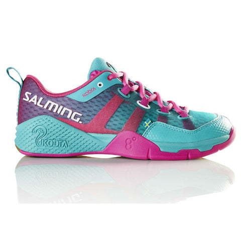 Salming Kobra Womens Indoor Court Shoe (Turquoise/Pink) - RacquetGuys