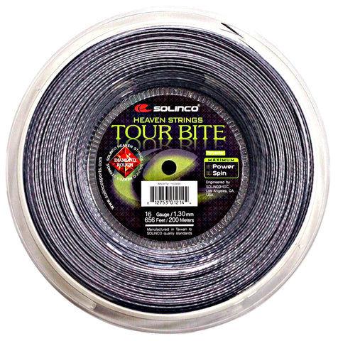 Solinco Tour Bite Diamond Rough 16 Tennis String Reel (Silver)