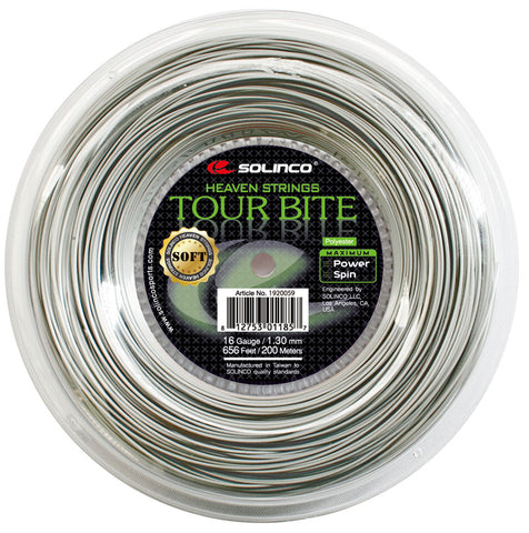 Solinco Tour Bite Soft 16 Tennis String Reel (Silver)