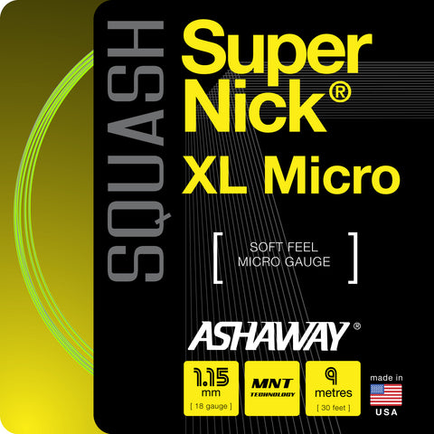 Ashaway SuperNick XL Micro 18 Squash String (Yellow) - RacquetGuys