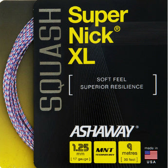 Ashaway SuperNick XL 17 Squash String (White/Blue/Red) - RacquetGuys.ca