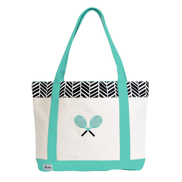 Ame & Lulu Tennis Lovers Black Shutters Tote Racquet Bag