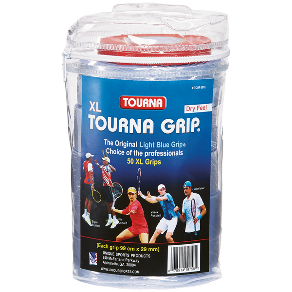 Tourna Grip Original XL Overgrip 50 Pack Travel Pouch (Blue) - RacquetGuys