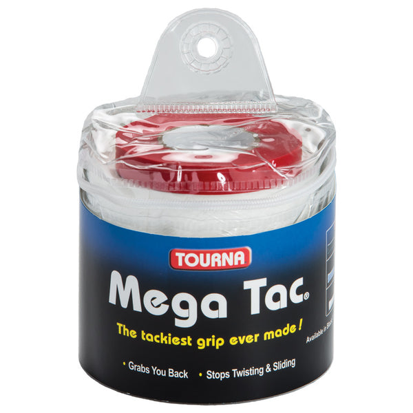 Tourna Mega Tac Overgrips Travel 30 Pack (White) - RacquetGuys