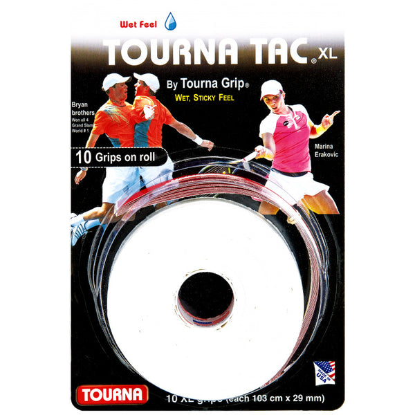 Tourna Tac XL Tour 10 Pack Overgrips (White) - RacquetGuys