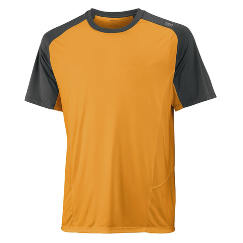 Wilson Mens Spring Solana Colourblock Top (Neon Mango) - RacquetGuys