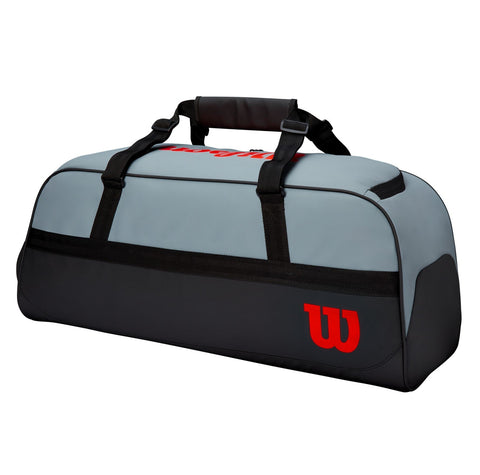 Wilson Clash Duffel Large 3 Pack Racquet Bag (Grey/Black/Infrared) - RacquetGuys