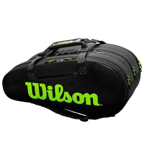 Wilson Super Tour 3 Compartment 15 Pack Racquet Bag (Black/Green) - RacquetGuys