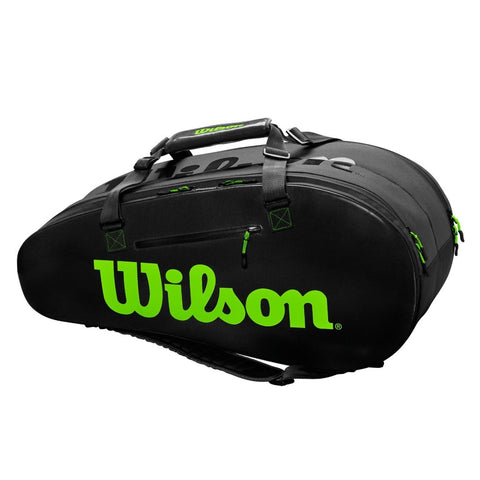 Wilson Super Tour 2 Compartment 9 Pack Racquet Bag (Black/Green) - RacquetGuys