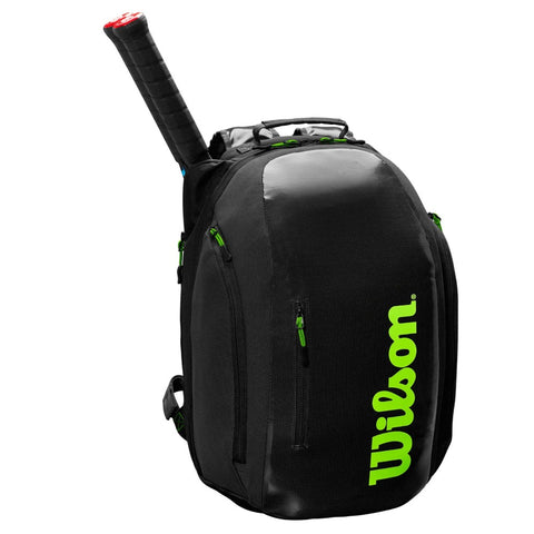 Wilson Super Tour Backpack Racquet Bag (Black/Green) - RacquetGuys.ca