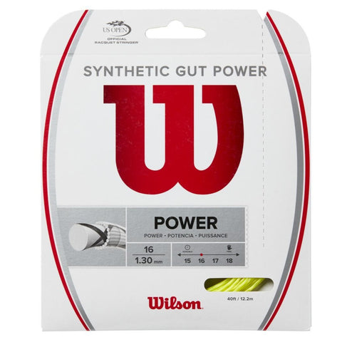 Wilson Synthetic Gut Power 16 Tennis String (Yellow) - RacquetGuys