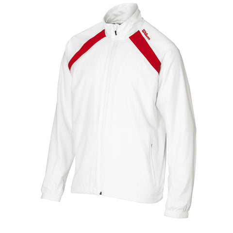 Wilson Mens Woven Warm Up Jacket and Pants (White/Black/Red) - RacquetGuys
