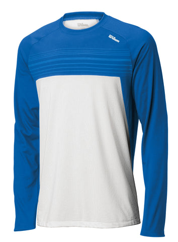 Wilson Mens Blow Away Pullover (White/Blue) - RacquetGuys