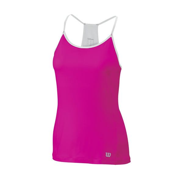 Wilson Womens Late Summer Strappy Tank Top (Pink/White) - RacquetGuys