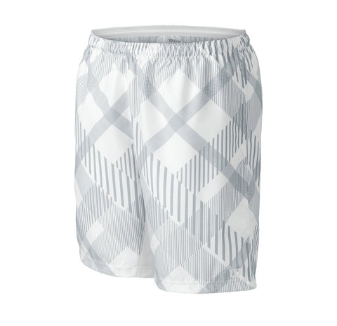 Wilson Boys Rush Plaid 8 Inch Shorts (White/Slate Grey) - RacquetGuys