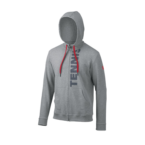 Wilson Mens Full Zip Hoodie (Grey) - RacquetGuys
