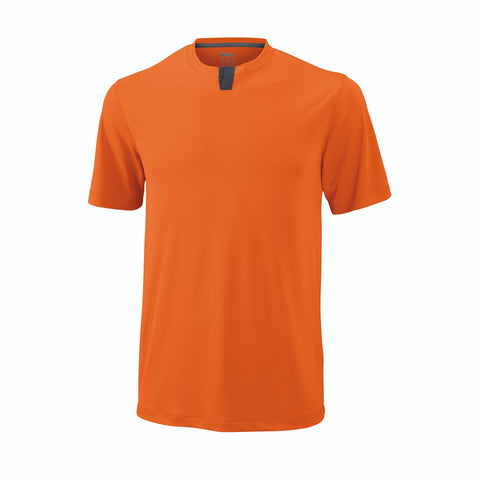Wilson Mens Uw Henley Top (Carrot/Ebony) - RacquetGuys